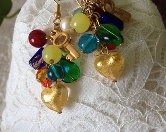 EARRING CHARMS: Earrings pendant with glass charms.