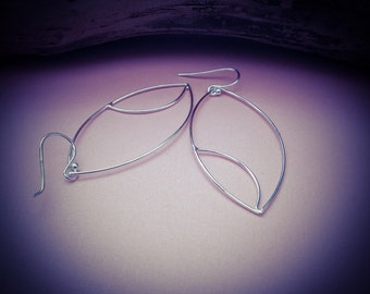 Whitespace leaf earrings - long dangles in sterling silver
