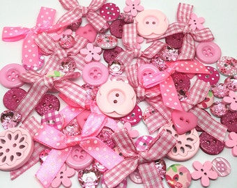 Rosey's Craft Shop 100 Pink Mega Mix of Buttons & Bows Embellisments For Craft Cardmaking