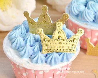 Set of 12 Gold Crown Cupcake Topper Picks Birthday Celebration