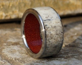 Titanium band ring natural deer antler outside and rosewood inside