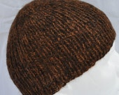 Hand Spun, Hand knit, Alpaca Winter Hat. Warm toque, watch cap, or beanie in two tones of hand spun, hand knit alpaca.