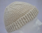 Bulky White Handspun Alpaca Winter Hat. Warm, soft, thick watch cap, beanie, or toque in handspun, hand knit natural white alpaca.
