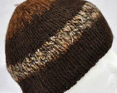 Hand Spun, Hand Knit, Alpaca Winter Hat. Dark brown toque, watch cap, beanie or ski cap with funky art yarn highlights.