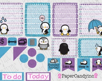 Box planner stickers. Cutie pie Penguin Printable planner sticker set Great for ELCp, or any planner.