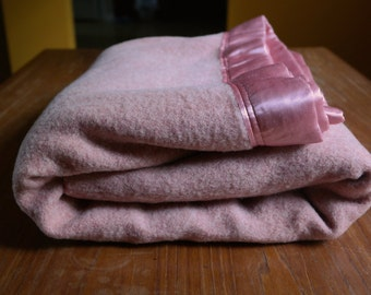"Vintage Kenwood Wool Blanket Salmony Peachy Dusty Pink with Satin 68"" x 86"""