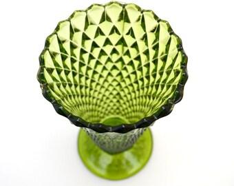 Vintage Green Pressed Glass Vase, Diamond Pattern, circa 1960s-1970s