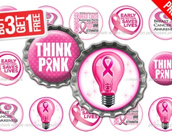 Breast Cancer Awareness Bottle Cap Images - 1 inch size - Suitable for Hair Bows, Magnets, Stickers etc - High Resolution Images (BC05)
