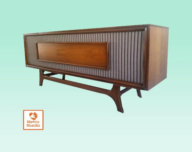 GE Vintage Stereo Console | Repurposed Midcentury Modern Stereo Cabinet |  Bluetooth U0026 IPhone Speaker |