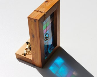 Modern stained glass timber light box candle holder shrine jewellery ornament holder. See through print that glows in natural light