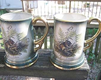 Jim Beam Chipmonk Beer Steins, Set Of Four Matching, Dark Green With Gold Trim, Genuine Regal  China, 1977