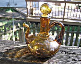 Handblown Amber Glass Pitcher With Stopper, Small With Attached Spout And Handle
