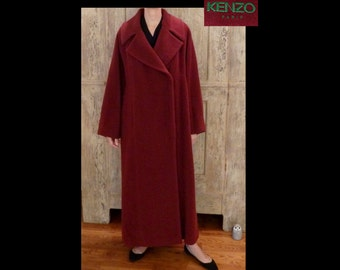 KENZO Paris Red Wine Alpaca Wool Coat~Made in France~Full Length Coat Duster~Size S/M/French 38~OVERSIZED~Mint Vintage~Asian Boho~20s Deco