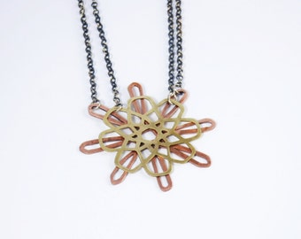 oxidised silver necklace with pendant from copper and brass
