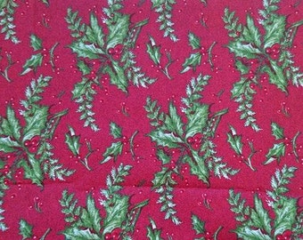 100% cotton, fabric Christmas, leaves of guis