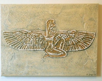"""Original sculptured Art """"Isis"""" on canvas.ready to hang.Ancient Egyptian,Anunnaki theme.16 X 12inch approx."""
