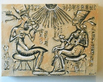 "Original sculptured Art ""Anunnaki"" on canvas.ready to hang.Ancient Egyptian,Anunnaki theme.12 X 9inch approx."