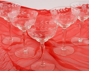 Etched Crystal Fluted Champagne Coupes