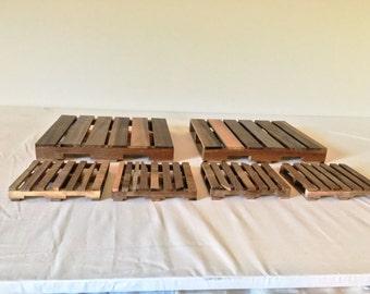 Handmade Walnut Pallet Gift Set - Walnut Pallet Trivets / Hot Plates and Pallet Coasters