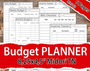 Budget Planner Traveler's Notebook, Midori Budget Planner, Planner MTN, Midori Inserts, Income Tracker, Expense Tracker, Finance tracker
