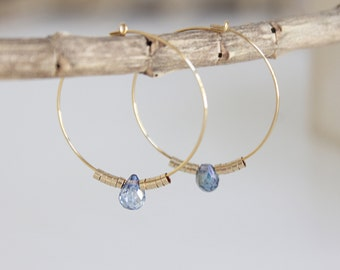 You and I - earrings aquamarine and gold 14 k