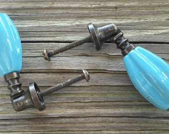Set 2 Fluted Ceramic Drop Pulls Aqua Blue Turquoise Antique Brass finish Vintage look