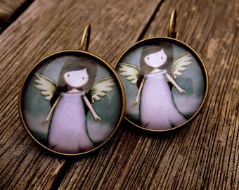 Cabochon earrings Brisur of naughty Angel