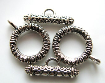 Toggle clasps, 2 clasps, ring 18mm, toggle 21mm, silver color metal, Jewelry findings - B 288
