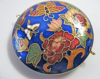 Cloisonne pendant or focal bead, flowers and butterflys, 42x11mm - 546