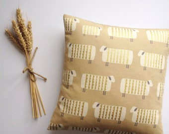 REDUCED! Metallic gold sheep on a natural backdrop, handmade cushion. Feather insert included.