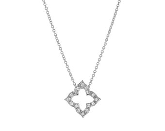 925 Solid Sterling Silver cubic zironia diamond shape Necklace Pendant choker Jewelry,rolo Chain, charm necklace, Women's Ladies Wife Gift