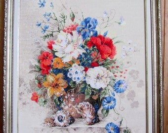 painting embroidered cross FLEMISH SUMMER