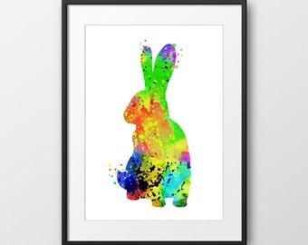 Rabbit Print, Rabbit Watercolor Print, Children's Art, Rabbit Art, Nursery Decor, Animal Print, Animal Watercolor (No A0118)