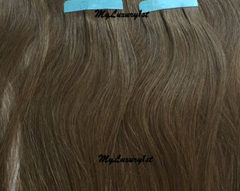 10 pieces Chestnut Brown Remy Tape in hair extensions 25 grams Streaks Highlights Lowlights
