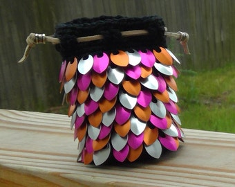 Pink Orange and Silver Dragon Scale Dice Bag