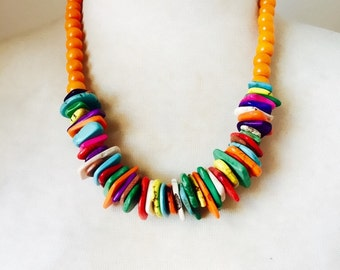 Chunky Turquoise & Wood Beaded Handmade Colourful Necklace