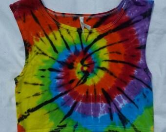 Unique tie dye tank top, size l, wide strap crop top tie dye, bright tie dye tank top, tie dye top, ladies top, festival dye, ice dye