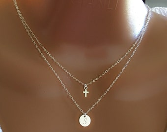 Layered tiny cross and disc necklace, All sterling silver, personalized letter, personalized gift