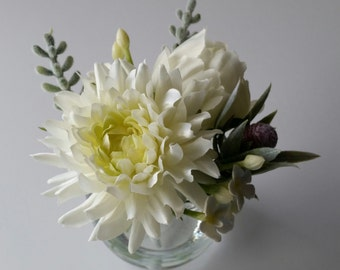 Artificial white silk rose dahlia flowers Silk flower arrangement Faux bouquet Grey foliage leaves Glass vase Mothers Day Gift ideas
