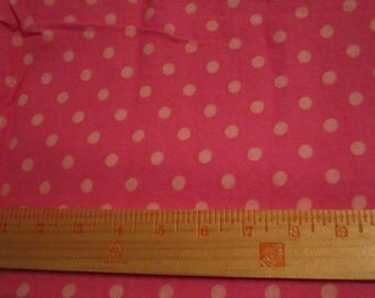 Cotton flannel dark pink with light pink dots