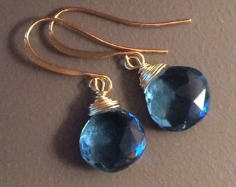 London Blue Quartz Faceted Briolette andGold Pl or Ox Silver Wrapped Drop Earrings by Min Favorit