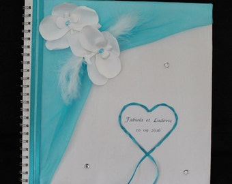 Book wedding, white and turquoise, custom