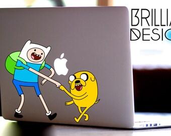 Adventure Time, Jake and Finn Decal,Sticker,Skin,MacBook Pro, Macbook Air,Gift, Geekery, Cartoon, Jake the dog, Finn the human, Gift