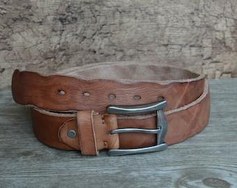 Leather Belt/Mens Belt/Heavy Duty Belt/Distressed Belt/Rugged Cowhide Belt/Brown/Unique Belt For Mens Gifts