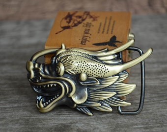 Mens Belt Buckle , Brass Buckle, Dragon Buckle