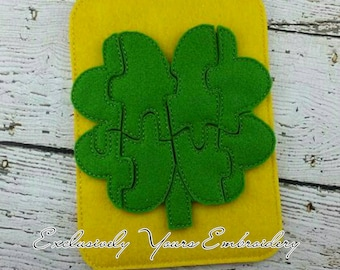 Clover Puzzle w/Storage Pouch, Quiet Game, Toddler Toy, Travel Toy, Party Favor