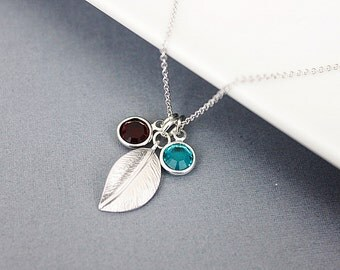 Silver Leaf and Birthstone Pendant Necklace, Bridesmaid Necklace, Bridesmaid Gift, Dainty Necklace.