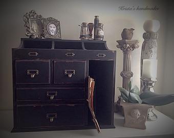 Rustic black desk organizer