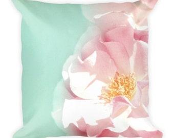 Pink Rose Pillow/Rose Pillow/Pillow/Pretty/Blue/Pink/Bedding/Home/Pillows/Pretty Pink/Floral Pillow/Flower/Rose