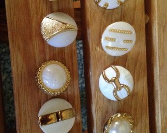 9 White & Gold Buttons